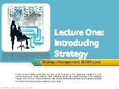 SM Lecture One : Introducing Strategy