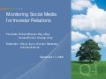 Monitoring Social Media for Investor Relations - September 17, 2009