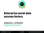 Enterprise social data success factors, presented by Marshall Sponder