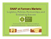 SNAP at Farmers Markets: Logistics,...