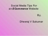 Social media tips for an e commerce...