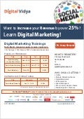 Upcoming Social Media/Digital Marketing Trainings by Digital Vidya