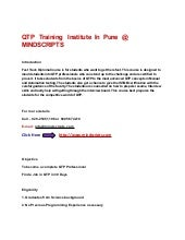 QTP Training  Institute Pune  @ MIN...