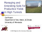 High Tunnel Soil Management