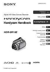 Sony hdr sr10 e manual