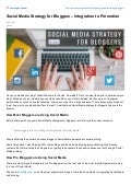 Social Media Strategy for Bloggers - Integration to Promotion