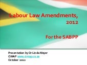 South African Labour Law Amendments...