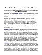 Space lattice theory a grand unification of physics
