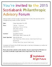 Scotiabank Philanthropic Advisory Forum | September 18, 2015