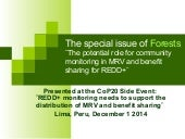 The special issue of Forests: The potential role for community monitoring in MRV and benefit sharing for REDD+