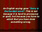 Speech Act Apologies
