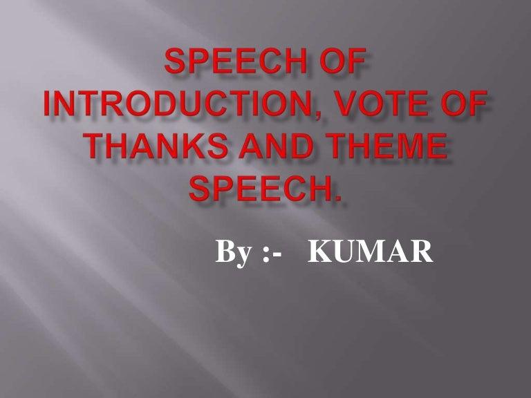 Vote of Thanks Speeches Examples