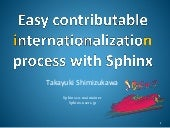 Easy contributable internationalization process with Sphinx (PyCon APAC 2015 in Taiwan)