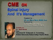 SPiNAL INJURY AND IT'S CURRENT MANA...