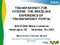 Spinelli transparency for citizens the brazilian experience of transparency portal