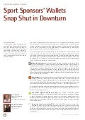 Sport sponsors' wallets snap shut in downturn -  IESE business school july-september 2009