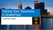 SPSRI13 - Taming Your Taxonomy in S...