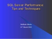 Sql Server Performance Siddhesh