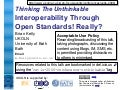 Standards Through Interoperability? Really?