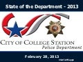 State of the College Station Police Department Report