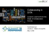 STC Summit 2013: DITA Collaboration...