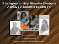 Strategies To Help Minority Students Achieve Academic Success