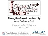 Strengths-Based Leadership for VALOR