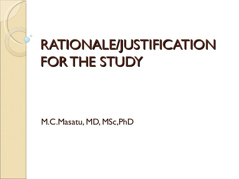 How to write a rationale of the study
