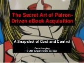 The Secret Art of Patron-Driven eBook Acquisition: A snapshot of Cost and Control