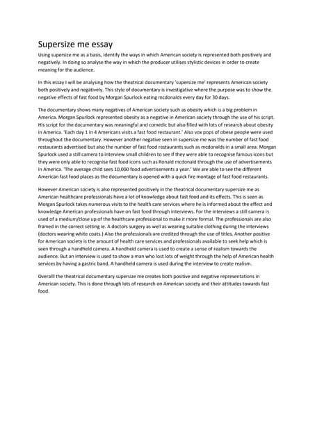 supersize me essay version supersize me essay quick start  of supersize me essay