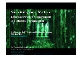 Surviving in a Matrix: Simple Techniques for Effective Project Management in a Matrix Organization