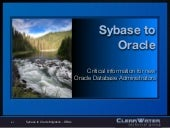 Sybase To Oracle Migration for DBAs
