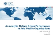 An Analytics Culture Drives Performance in Asia Pacific Organizations
