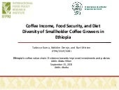 Coffee Income, Food Security, and Diet Diversity of Smallholder Coffee Growers in Ethiopia