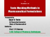 Taste masking methods in pharmaceut...