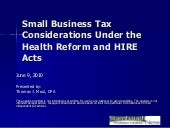 Small Business Tax Considerations U...