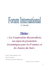 Forum Internation du 21 au 23 Avril