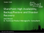 SharePoint Backup And Disaster Recovery with Joel Oleson