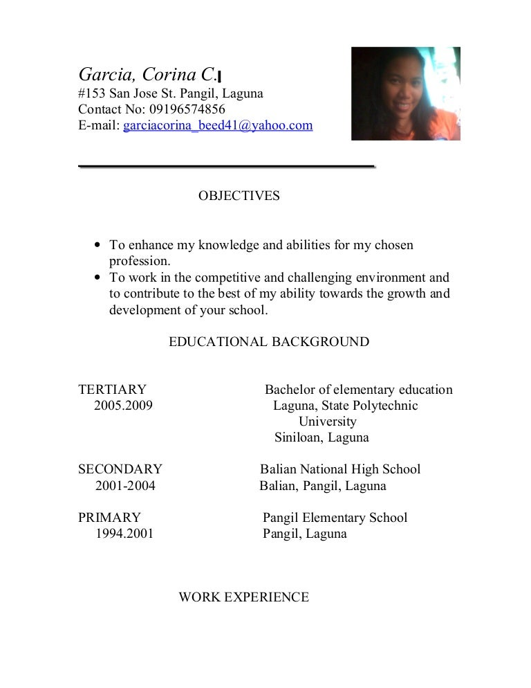 resume for teacher applicant | Template