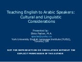 Teaching Arabic Speakers: Linguisti...