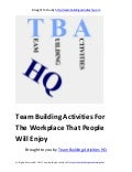 Team building activities for the workplace that people will enjoy