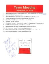 Team meeting Agenda Notes - September 2nd, 2014