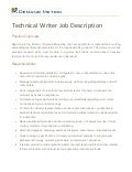 Technical Writer Job Description
