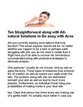 Ten straightforward along with all natural solutions to do away with acne