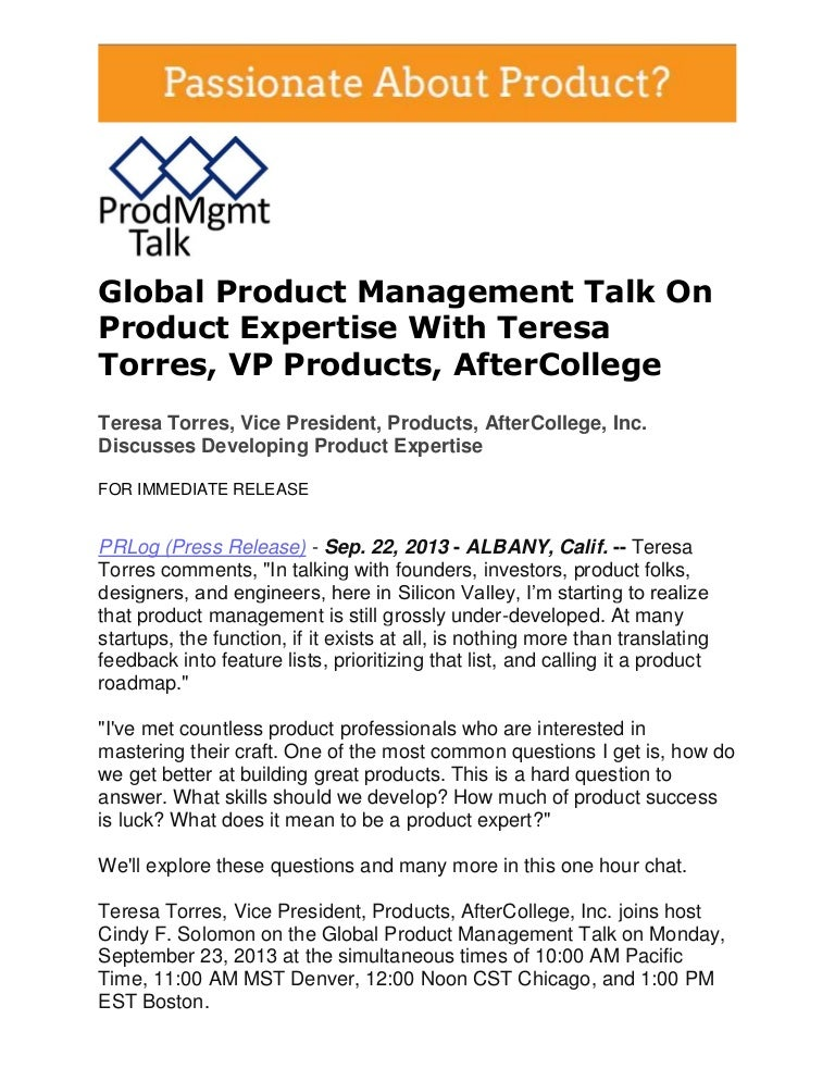 Developing Product Expertise With Teresa Torres, Vice President, Products, AfterCollege, Inc