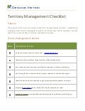 Territory Management Checklist