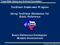 TexShare Databases Basic Reference Assessment