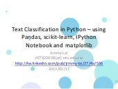 Text Classification in Python – using Pandas, scikit-learn, IPython Notebook and matplotlib