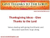 Thanksgiving Ideas - Give Thanks to the Lord