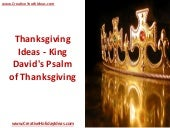 Thanksgiving Ideas - King David's Psalm of Thanksgiving